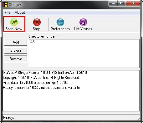 برنامج مكافحة الفيروسات McAfee AVERT Stinger 10.2.0.284